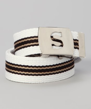 White & Black Stripe Initial Belt