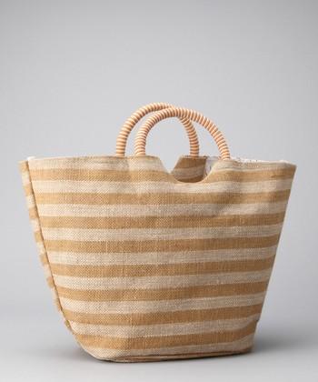 Gold & Natural Stripe Satchel