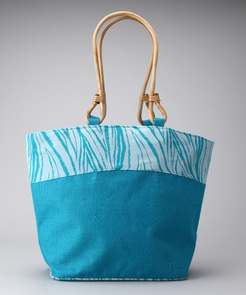 Teal & White Bark Satchel