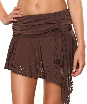 Brown Convertible Cover-Up Miniskirt