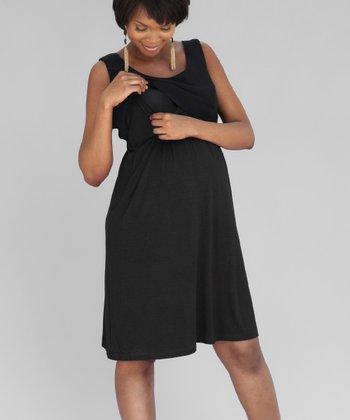 Black Maternity & Nursing Layered Dress