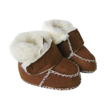 Brown Velcro Micro-Suede Booties - Infant