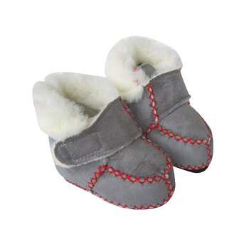 Grey Velcro Micro-Suede Booties - Infant