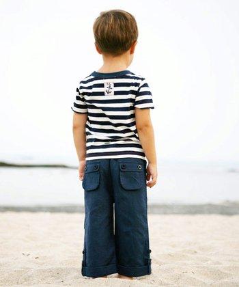 Navy Roll-Up Beach Pants - Boys