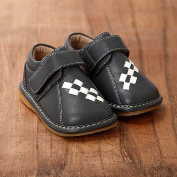 Grey and Checker Squeaker Shoes - Infant & Toddler