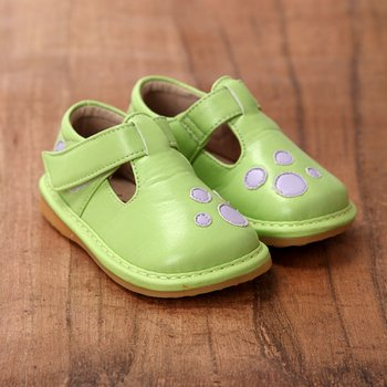 Lime and Mauve Dot Squeaker Shoes - Toddler