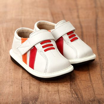 White and Orange Striped Squeaker Shoes - Infant & Toddler