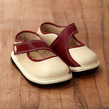 Cream and Burgundy Mary Janes - Infant & Toddler