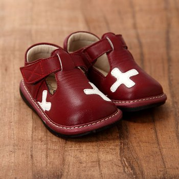 Dark Red and White T-Straps - Infant & Toddler