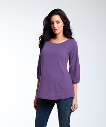 Pleated Three-Quarter Sleeve Tee Shirt - Plum