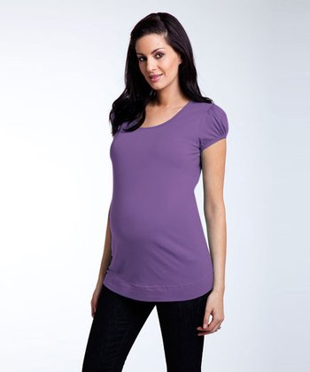 Puff Sleeve Tee Shirt - Plum