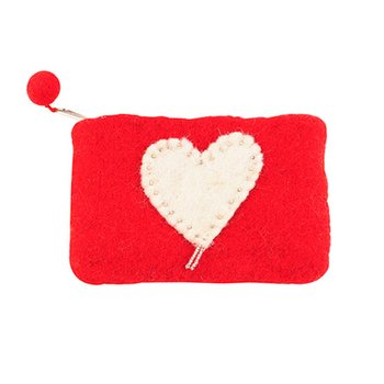 White Heart Change Purse