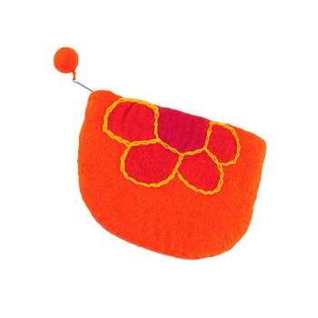 Orange Flower Change Purse