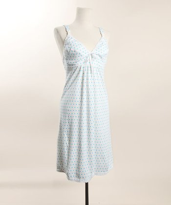 Blue Polka Dot Nursing Nightgown