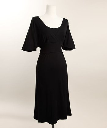 Black Romantic Flutter Sleeve Nursing Dress