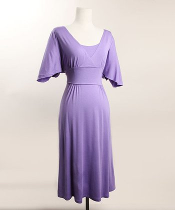 Lavender Romantic Flutter Sleeve Nursing Dress
