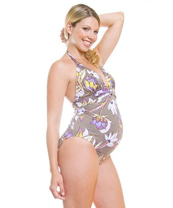 Khaki Tropical Maldivas Maternity One-Piece