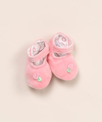 le top baby - Rose Velour Ankle Strap Booties - Newborn