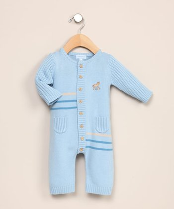 le top baby - Blue Toy Pony Sweater Coverall - Newborn to 6 Months
