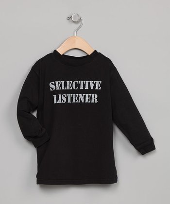 Black Selective Listener Long-Sleeve Tee Shirt - Toddler & Boys
