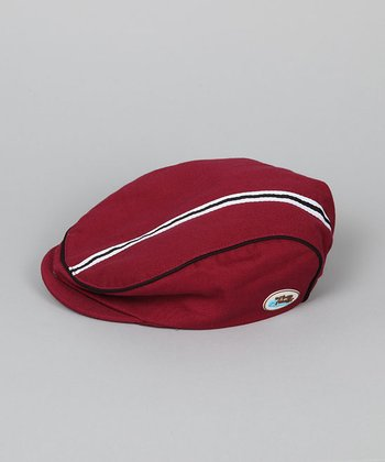 Maroon & Black Newsboy Hat