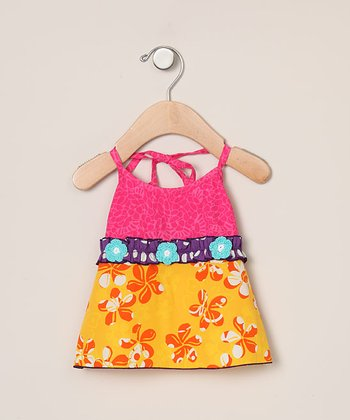 Fuchsia & Orange Flower Halter Top - Infant, Toddler & Girls
