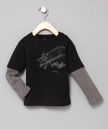 Baby Eggi Boys - Black & Dark Grey Soaring Plane Tee