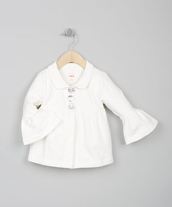 Baby Eggi Girls - Ivory Bell-Sleeve Jacket - Toddler
