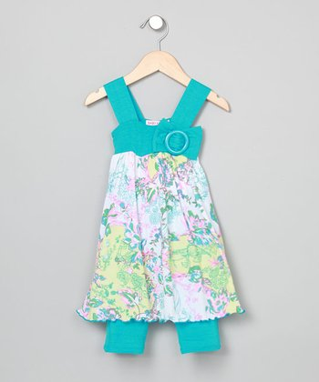 Baby Nay Bird Trellis Apron Dress & Leggings - Toddler & Girls