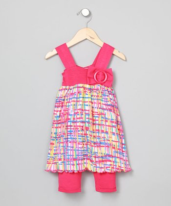 Baby Nay Plaid Apron Dress & Leggings - Toddler & Girls