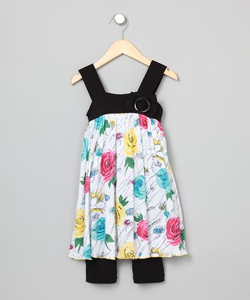 Baby Nay Sugar Rose Apron Dress & Leggings - Girls