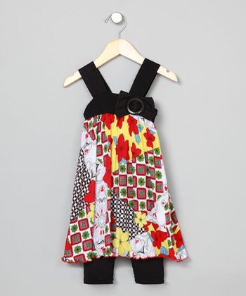 Baby Nay Patch Apron Dress & Leggings - Toddler & Girls