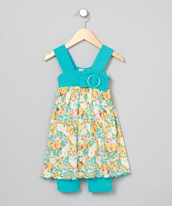 Baby Nay Vintage Butterfly Apron Dress & Leggings - Toddler & Girls