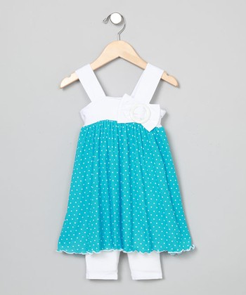 Baby Nay Vintage Pin Dot Apron Dress & Leggings - Toddler & Girls