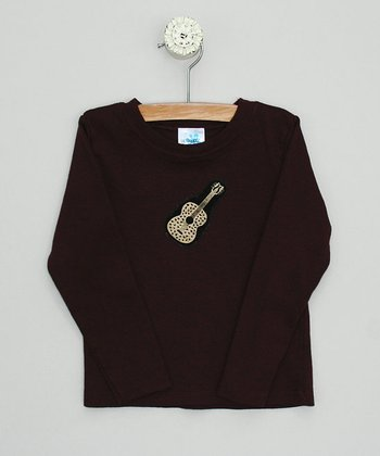 Chocolate Long-Sleeve Tee with Guitar - Toddler & Boys