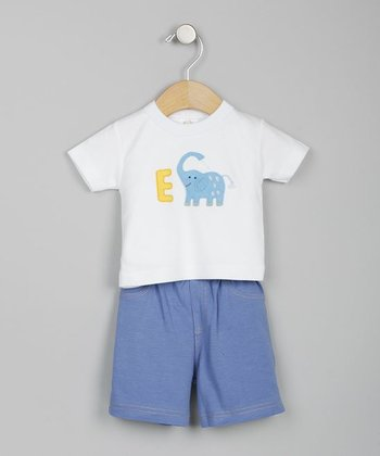 Elephant White & Denim Blue Tee & Shorts - Infant & Toddler