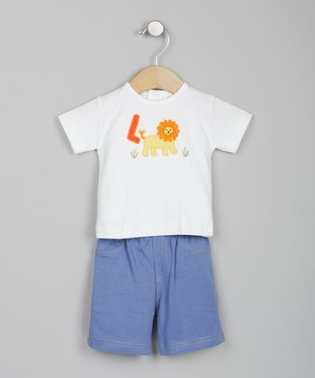 Lion White & Denim Blue Tee & Shorts - Infant