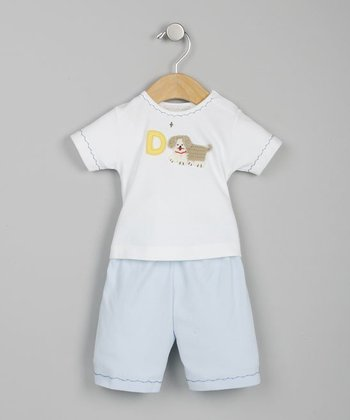 Dog White & Blue Tee & Shorts - Infant