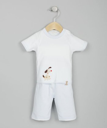 Dog White & Blue Tee & Striped Shorts - Infant