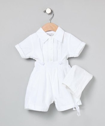 White Button-On Shorts Set - Infant
