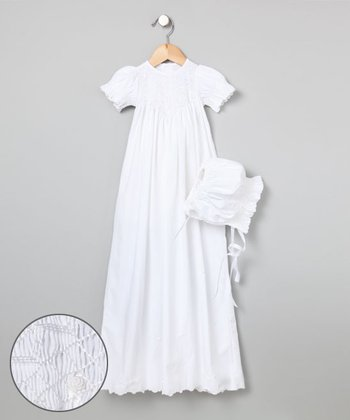 White Hand-Smocked Christening Gown & Bonnet- Infant