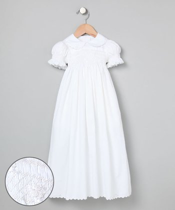 White Hand-Smocked Christening Gown - Infant