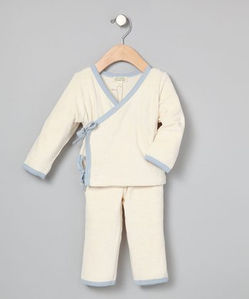 Natural & Blue Zen Kimono Top & Pants - Infant