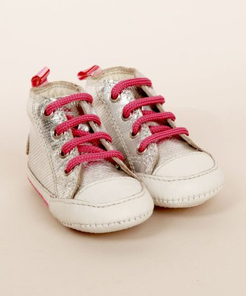 Silver & Pink Darwin High-Top Infant Sneaker