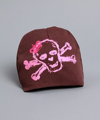 Brown Hat with Pink Skull - Infant & Toddler