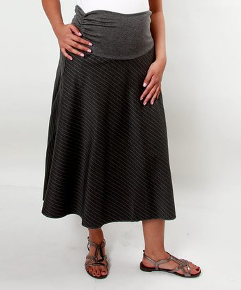 Charcoal Pinstripe Maternity Skirt
