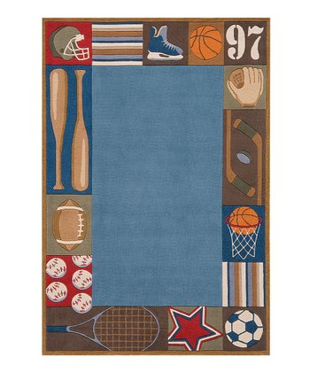 Blue Sports Border Rug
