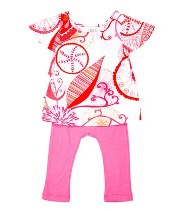 Red & Pink Floral Layered Playsuit - Infant