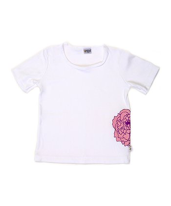 White & Pink Peony Andy Tee - Toddler & Girls