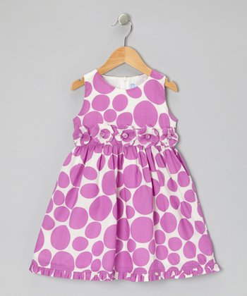 Purple Floral Dot Tie-Back Dress - Infant & Toddler